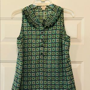 J. CREW-CUTE GREEN & BLUE TOP WITH BUTTONS SIZE 6